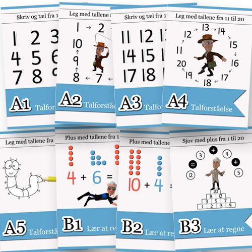 Matematikhæfterne fra Matematikfessor tager Jer igennem det børnene har lært i løbet af året.